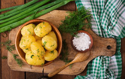 Boiled new potatoes seasoned with dill and butter. Royalty Free Stock Photo