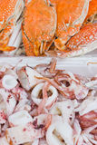 Boiled octopus and boiled crab. Together stock images