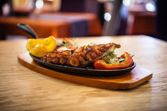 Boiled octopus with vegetables. Pulpo cocido. Boiled octopus, shallots and grilled vegetables Stock Image