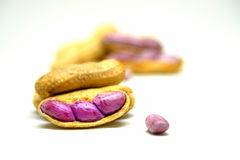 Boiled peanuts peel out on white background Royalty Free Stock Photography