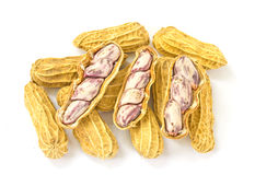 Boiled peanuts on white background Royalty Free Stock Images