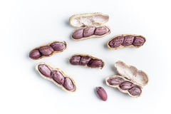 Boiled Peanuts. On white background Stock Photo
