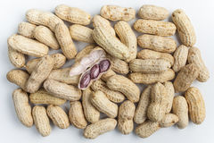 Boiled Peanuts. On white background Royalty Free Stock Photo