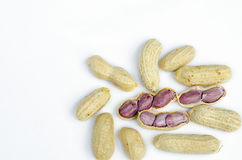 Boiled peanuts on white background. Royalty Free Stock Images