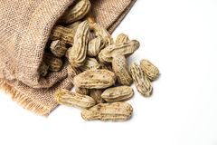 Boiled peanuts on white background. Boiled peanuts with some jute bags filled with peanuts on white background with text space royalty free stock photo