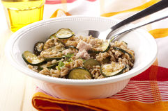 Boiled pearl barley. With tuna and marrow Royalty Free Stock Image
