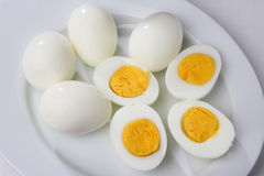 Boiled peeled eggs Stock Photos