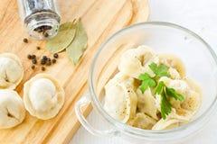 Boiled pelmeni Stock Photo