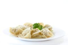 Boiled pelmeni Stock Image
