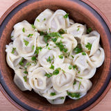 Boiled pelmeni Royalty Free Stock Photography
