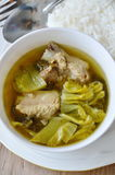 Boiled pickled cabbage and pork bone soup eat couple with rice Stock Image