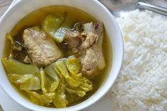 Boiled pickled cabbage and pork bone soup eat couple with rice Stock Photos