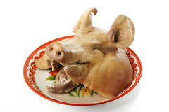 Boiled pig head Stock Photo