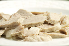 Boiled pork. Boiled and no garnish pork on a plate Royalty Free Stock Photography