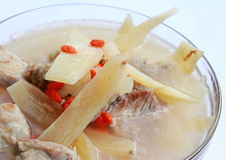 Boiled pork, Chinese medicine. Herb soup in pot, Chinese food style Stock Photos
