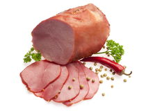 Boiled pork decorated with red Bulgarian pepper Royalty Free Stock Images