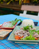 Boiled pork with lime ,garlic and chili sauce (pork with lime ) Royalty Free Stock Image