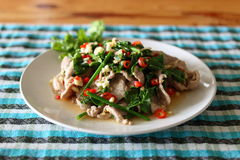 Boiled pork with lime. Thai dish named Moo Ma-Now royalty free stock photography