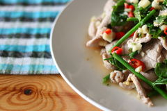 Boiled pork with lime. Thai dish named Moo Ma-Now stock image