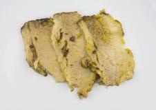 Boiled pork slice on white Royalty Free Stock Images