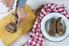 Boiled pork tongue Royalty Free Stock Image