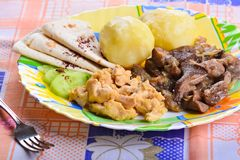 Boiled potatoes with chicken fillet pieces and fried mushrooms Stock Photography
