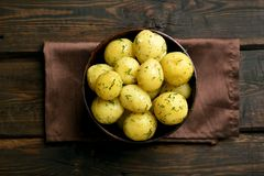 Boiled potatoes with dill royalty free stock images