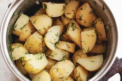 Boiled potatoes with dill and butter in a pan royalty free stock photography