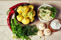 Boiled potatoes with dill .Rustic food Stock Photos