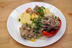 Boiled potatoes and meat Royalty Free Stock Images