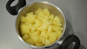 Boiled potatoes in a pan.  stock video