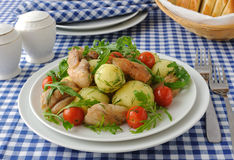 Boiled Potatoes With Chicken And Tomato Stock Images