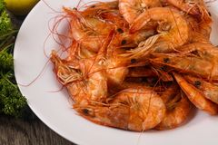 Boiled prawns. In the bowl - ready for eat stock photos