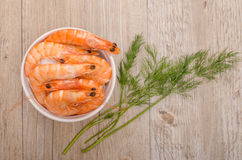 Boiled prawns with dill from above Stock Photography