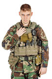 Portrait soldier or private military contractor shouting angry. Royalty Free Stock Photos