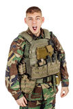 Portrait soldier or private military contractor shouting angry. Stock Photography