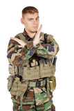 Portrait soldier or private military contractor making stop sign Stock Photo