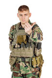 Portrait soldier or private military contractor with inviting or follow me gesture. Stock Images