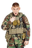 Portrait soldier or private military contractor shouting angry. Royalty Free Stock Image