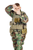 Portrait soldier or private military contractor framing with fingers. Royalty Free Stock Image