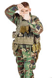 Portrait soldier or private military contractor framing with fingers.  Stock Images