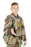 Portrait soldier or private military contractor giving hand for handshake.  Royalty Free Stock Photos