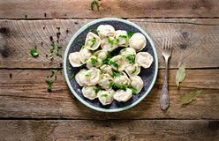Boiled prepared homemade russian pelmeni, dumplings, ravioli with meat on grey plate with fresh parsley, pepper, wooden royalty free stock photo
