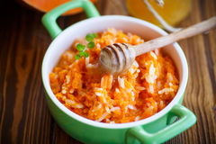 Boiled pumpkin with rice and honey Royalty Free Stock Images