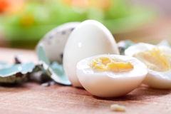 Boiled quail eggs. On a table Royalty Free Stock Images