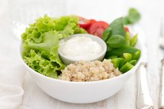 Boiled quinoa with lettuce, pepper, tomato and sauce Stock Photography
