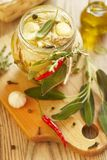 Boiled rabbit meat with garlic, oil and herbs Royalty Free Stock Photography