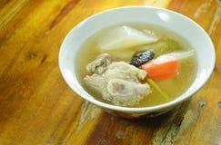 Boiled radish with pork bone soup on bowl. Boiled radish with pork bone soup on the bowl Stock Image