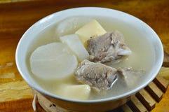 Boiled radish with pork rib and egg tofu soup on bowl Stock Photography