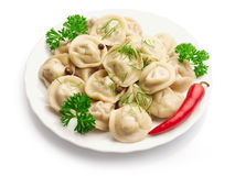 Boiled Ravioli with red pepper Stock Photography